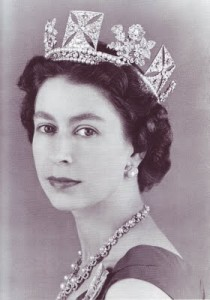 Queen wearing the diadem - young