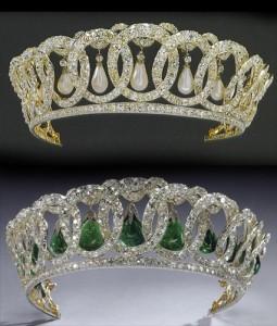 The Grand Duchess Vladimir Tiara with pearls and Cambridge emeralds