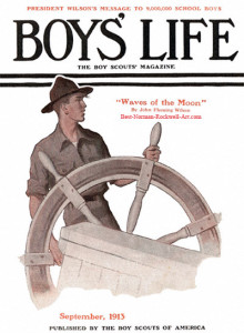 1913 Boys Life - Scout at Ships Wheel