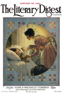 Norman Rockwell  - Mother Tucking Children into Bed