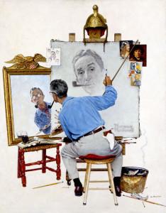 Norman Rockwell - Triple-self portrait