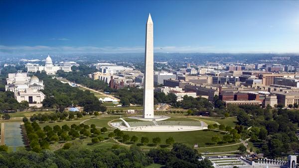 Washington Mounument - aerial view