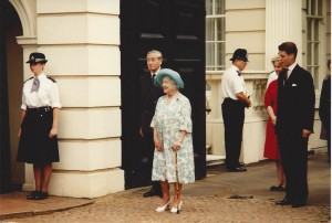 Clarence House - Queen Mother at  birthday gate