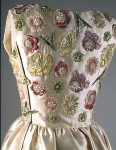 Ivory embroidered evening dress closeup