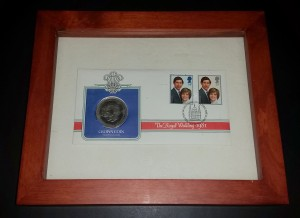 Prince Charles and Diana wedding stamp and coin set