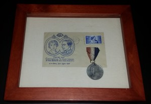 Silver Wedding stamp with coronation medal