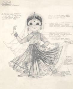 Alice Davis concept art for Its a Small World costumes 2