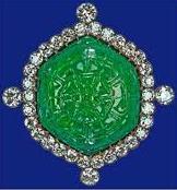 Delhi Carved Emerald Brooch