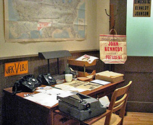 JFK Presidential Library  - election campaign office recreation