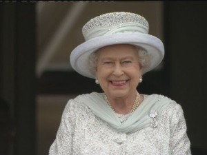 Queen Elizabeth wearing the Granny Chips