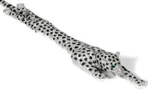 Cartier onyx and diamond panther bracelet