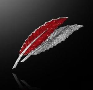 Van Cleef Arpels ruby and diamond feather brooch