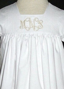 Baptism gown with monogram