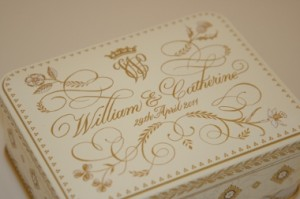 Prince William and Kate Middleton monogram on cake box