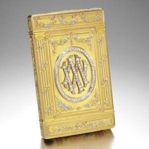 Tsar Nicholas II royal monogram on Fabergé cigarette box