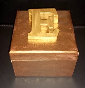square wooden box with initial - papered and painted