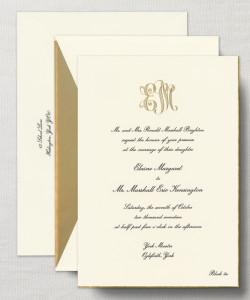 wedding invitation monogram 1 - Crane Engraved Royalty Alexandria Invitation with Gold Bevel