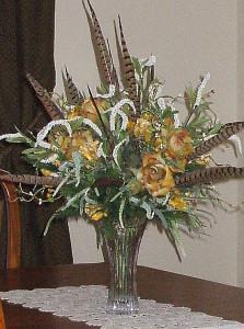 Dining room floral arrangement - fall