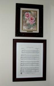 Dining room framed sheet music 1
