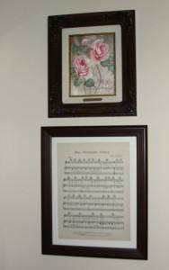 Dining room framed sheet music 2