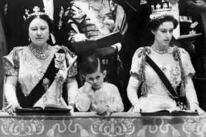 Coronation Prince Charles with the Queen Mother and Princess Margaret