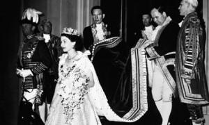 Queen Elizabeth II at her coronation in Westminster Abbey on 2 June 1953.