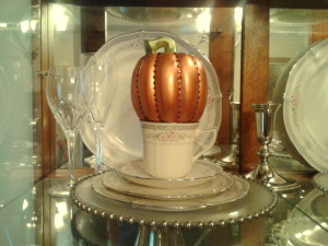 Jeweled Pumpkin on display in china cabinet