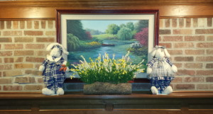 Spring Mantel Decoration - final with bunnies