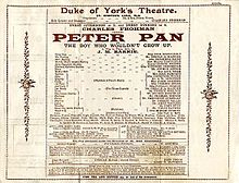 1904 newpaper Advertisment for the first Peter Pan play