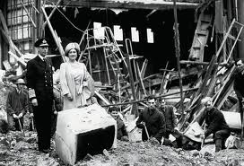 King George and Queen Elizabeth view east End bombing sites