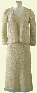Queen Elizabeth white wardrobe for Paris 1938 - day dress with matching jacket
