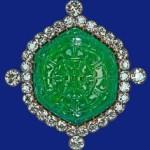 Delhi Durbar Carved Emerald Brooch