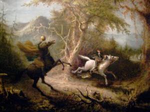 The Headless Horseman chasing Ichabod Crane