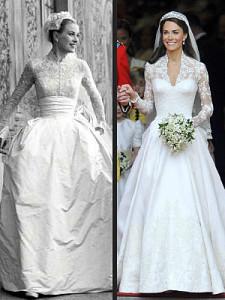 Grace Kelly and Kate Middleton's wedding dresses