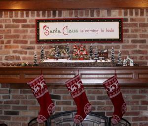 2012 Christmas  Family room fireplace mantel