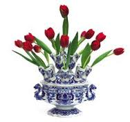 Delfware tulip vase - smaller version in blooom