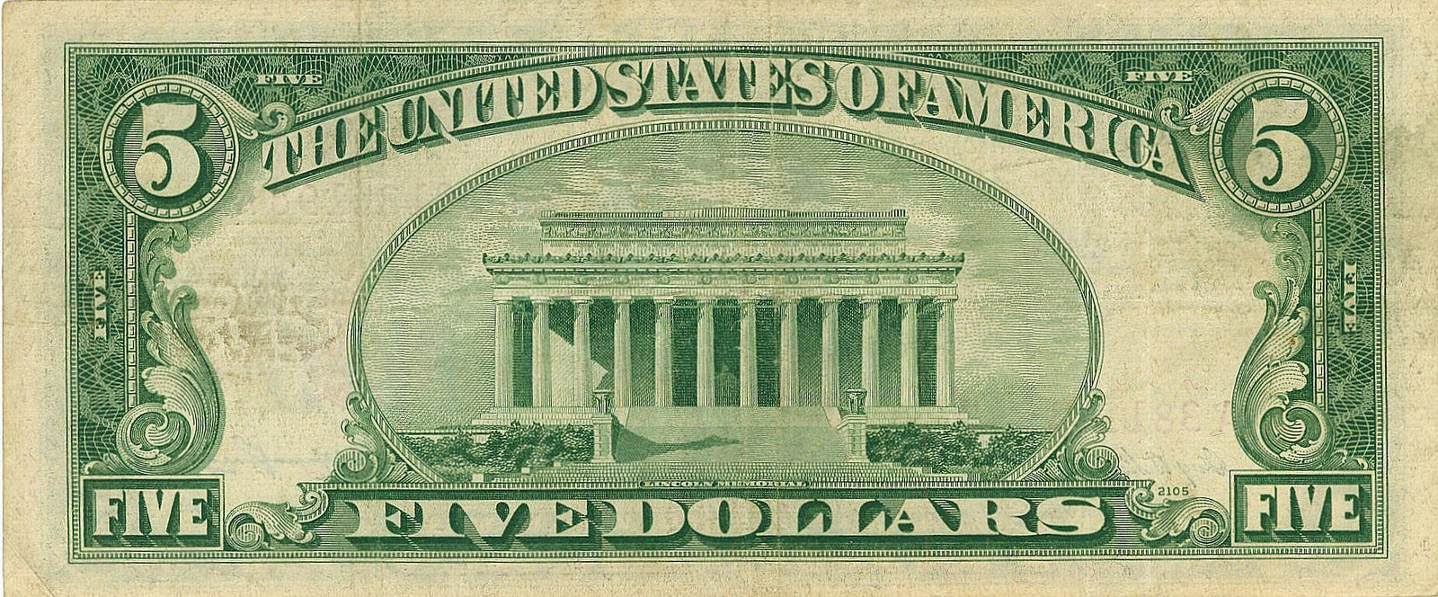 Lincoln Memorial On A Penny Lincoln Memorial On Five Dollar Bill