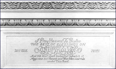 The John Adams inscription on the mantel of the State Dining Room