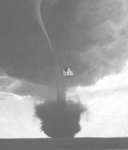 Tornado with house