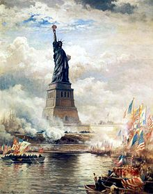 1886 painting by Edward Moran the Unveiling of the Statue of Liberty Enlightening the World