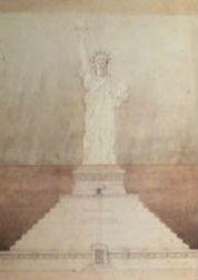 Bartholdi original sketch of the Statue of Liberty circa 1880