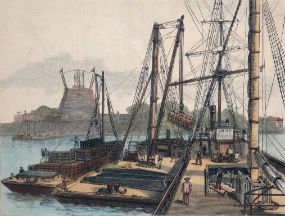 Isere unloading the crates containing the Statue of Liberty for transport to Bedloe's Island