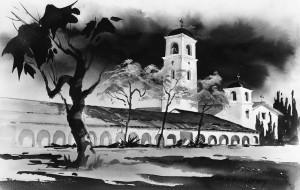 Mission San Juan Bautista - storyboard from Vertigo showing larger bell tower