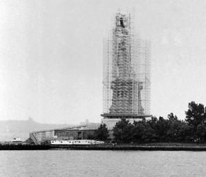Statue of Liberty - construction on island