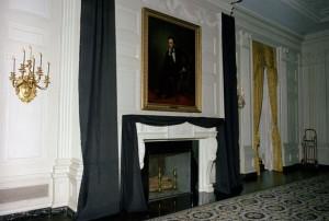 JFK funeral - White House interior draped in black