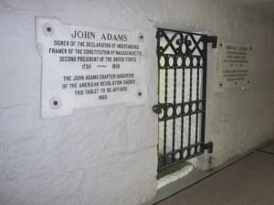 John Adams gravesite at United First Parish Church in Quincy Massachusetts