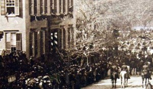 Teddy Roosevelt watching Lincoln fneral procession in New York City