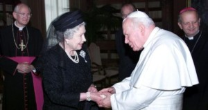 Queen Elizabeth - hat and mantilla worn on visit to Pope John Paul II