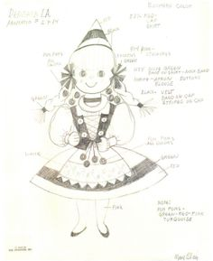 Alice Davis concept art for Its a Small World costumes 1