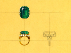 Duchess of Windsor engagement ring - sketch